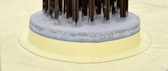 бетонная поверхность оголовка сваи